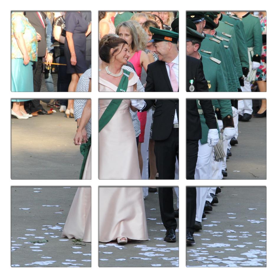 Das Geschenk der neun Korporalschaften an ihren Schützenkönig: Das Lieblingsfoto des Königspaares auf Leinwand in neun Quadraten. Jede Korporalschaft überreichte ein Puzzleteil. Foto: Thomas Sondermann