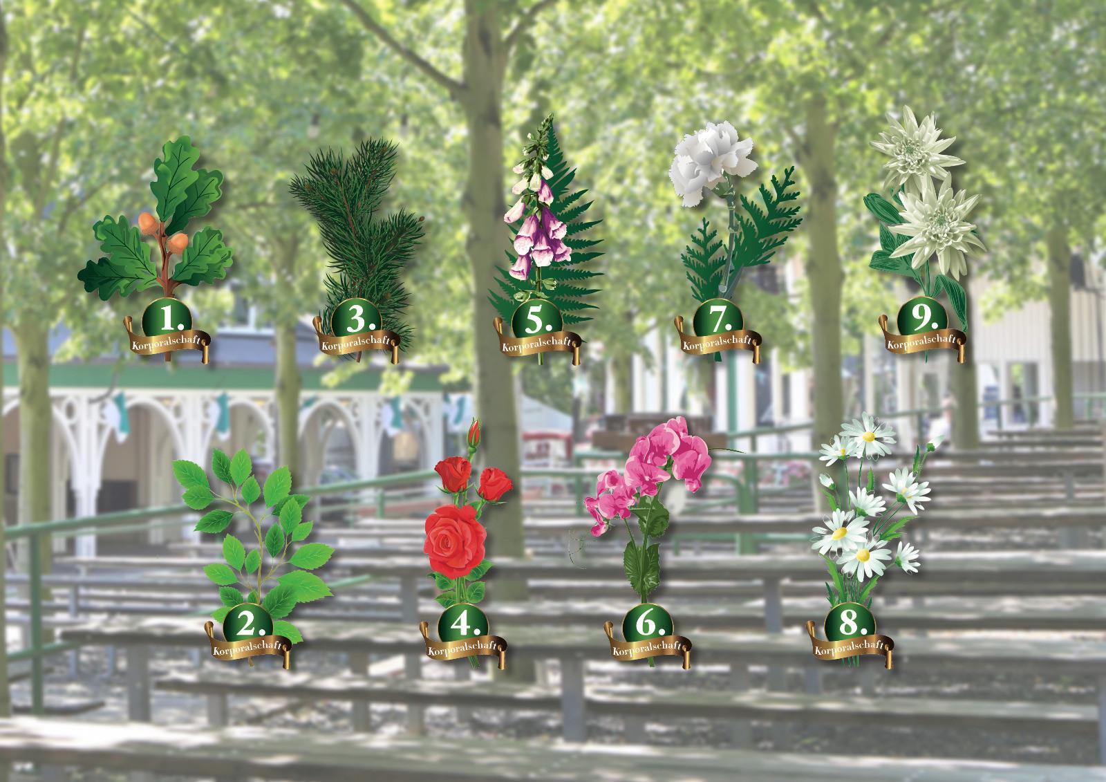 Blumenschmuck der neun Korporalschaften